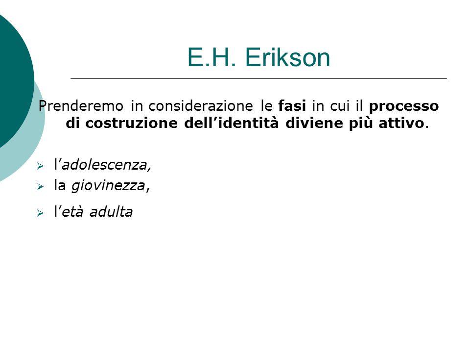 E.H. Erikson Prenderemo in considerazione le fasi in cui il processo di costruzione dell'identità diviene più attivo.