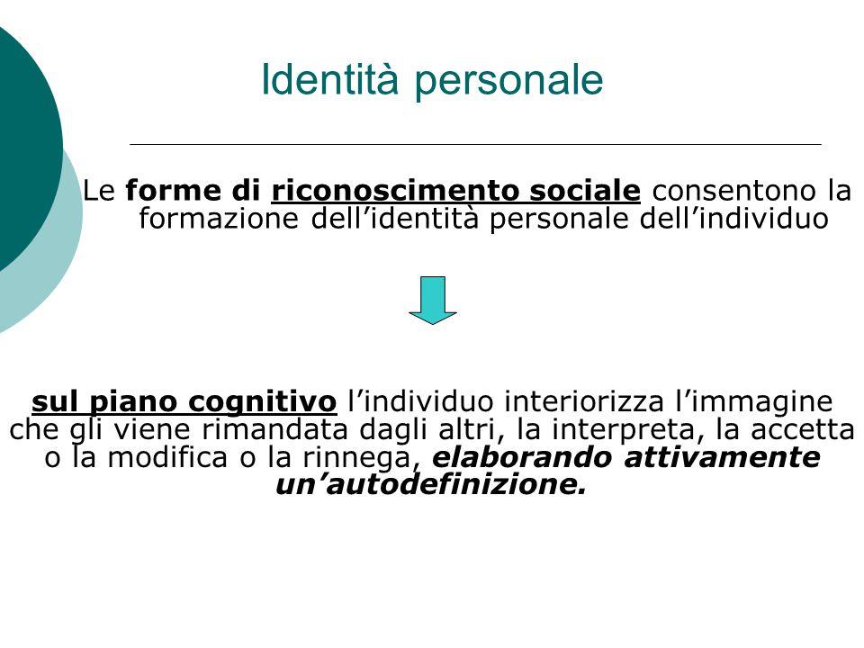 Identità personale Le forme di riconoscimento sociale consentono la formazione dell'identità personale dell'individuo.