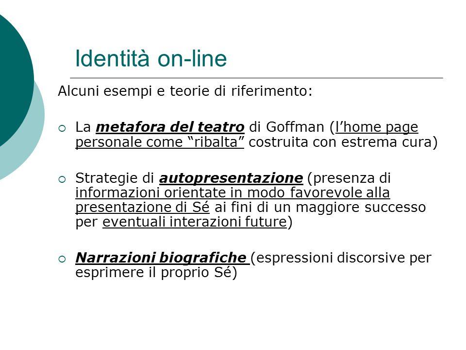 Identità on-line Alcuni esempi e teorie di riferimento: