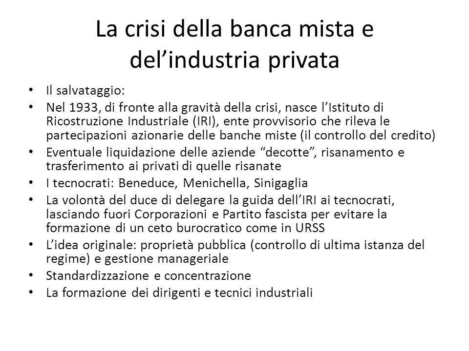La crisi della banca mista e del'industria privata