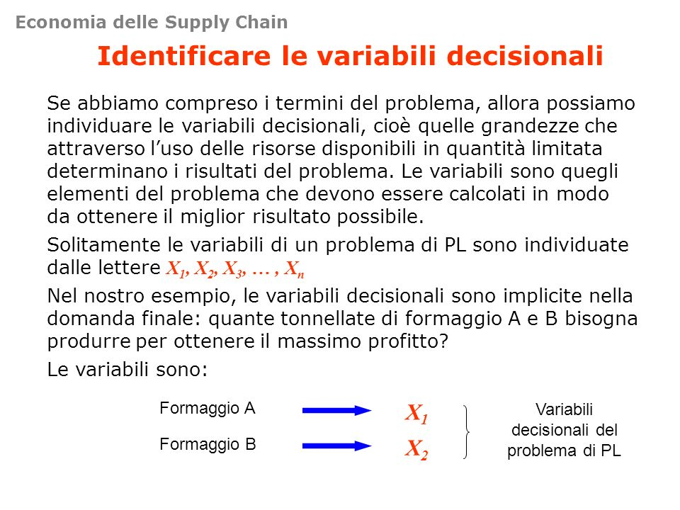 Identificare le variabili decisionali