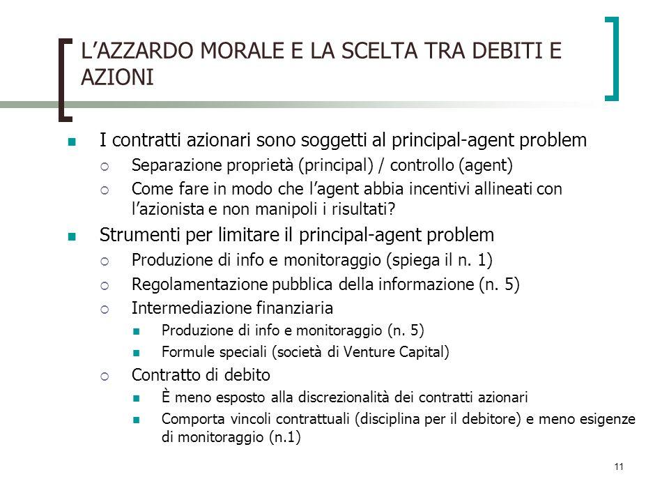 L'AZZARDO MORALE E LA SCELTA TRA DEBITI E AZIONI