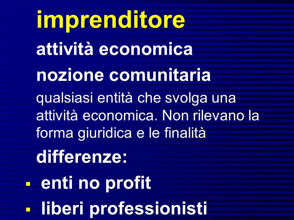 imprenditore attività economica nozione comunitaria differenze: