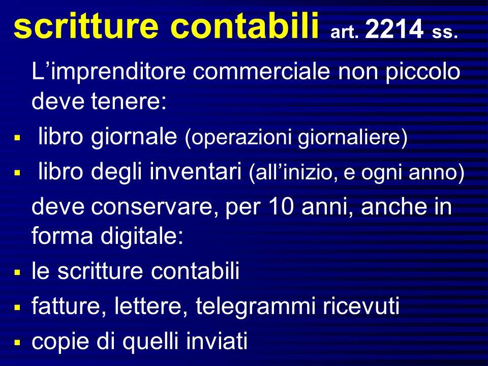 scritture contabili art. 2214 ss.