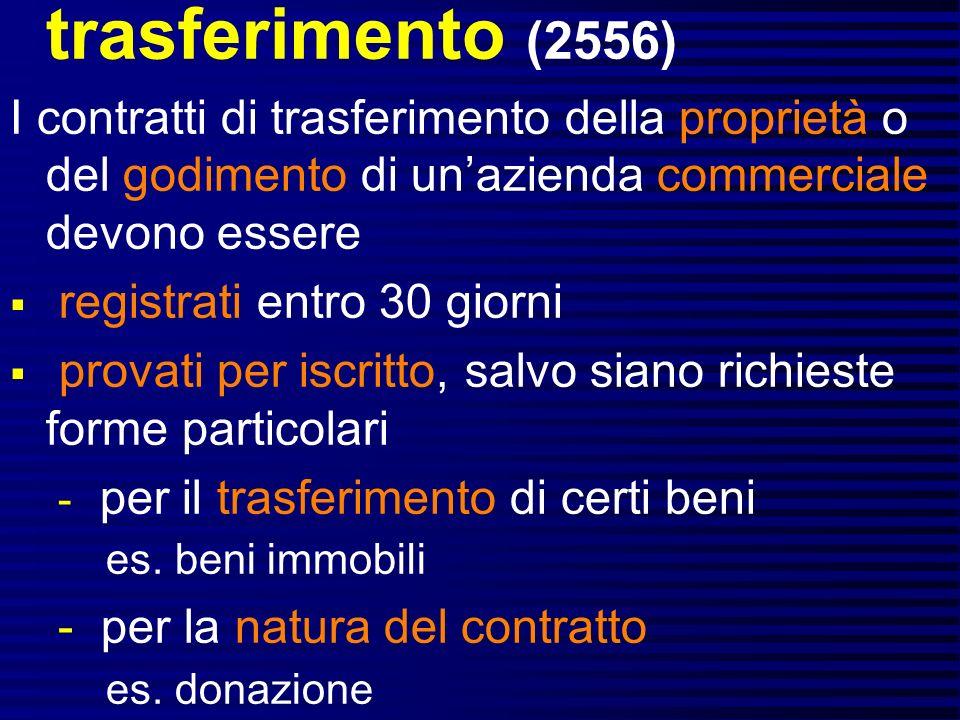 trasferimento (2556) I contratti di trasferimento della proprietà o del godimento di un'azienda commerciale devono essere.