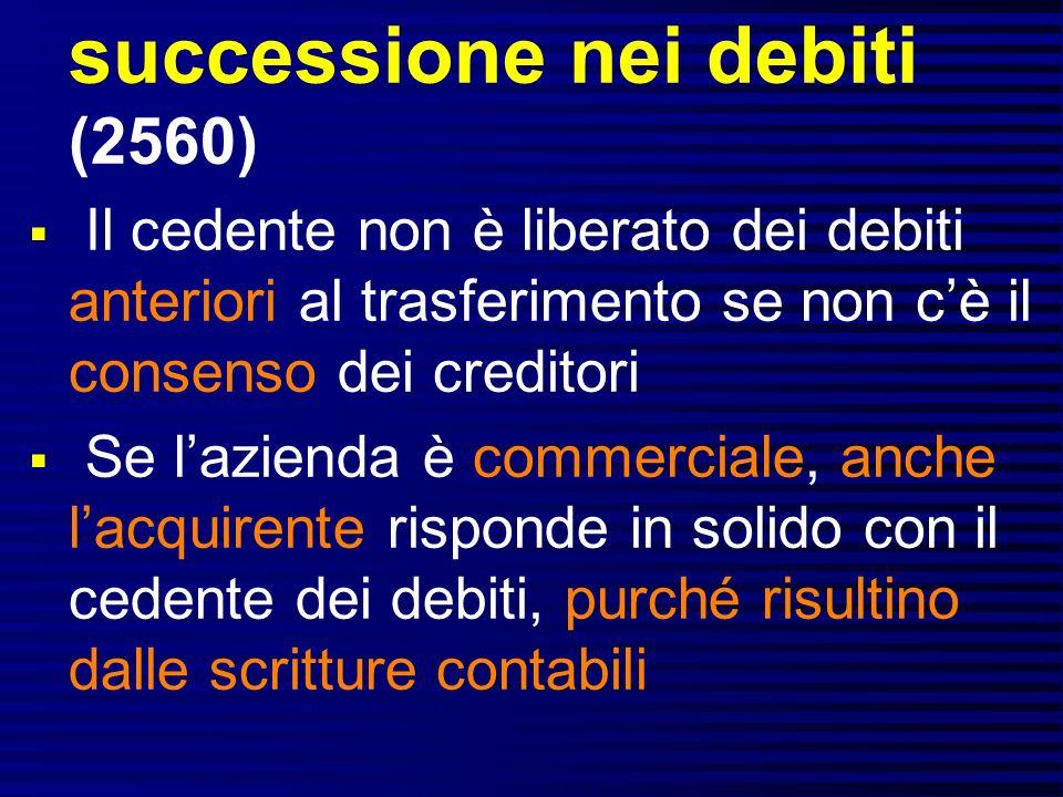 successione nei debiti (2560)
