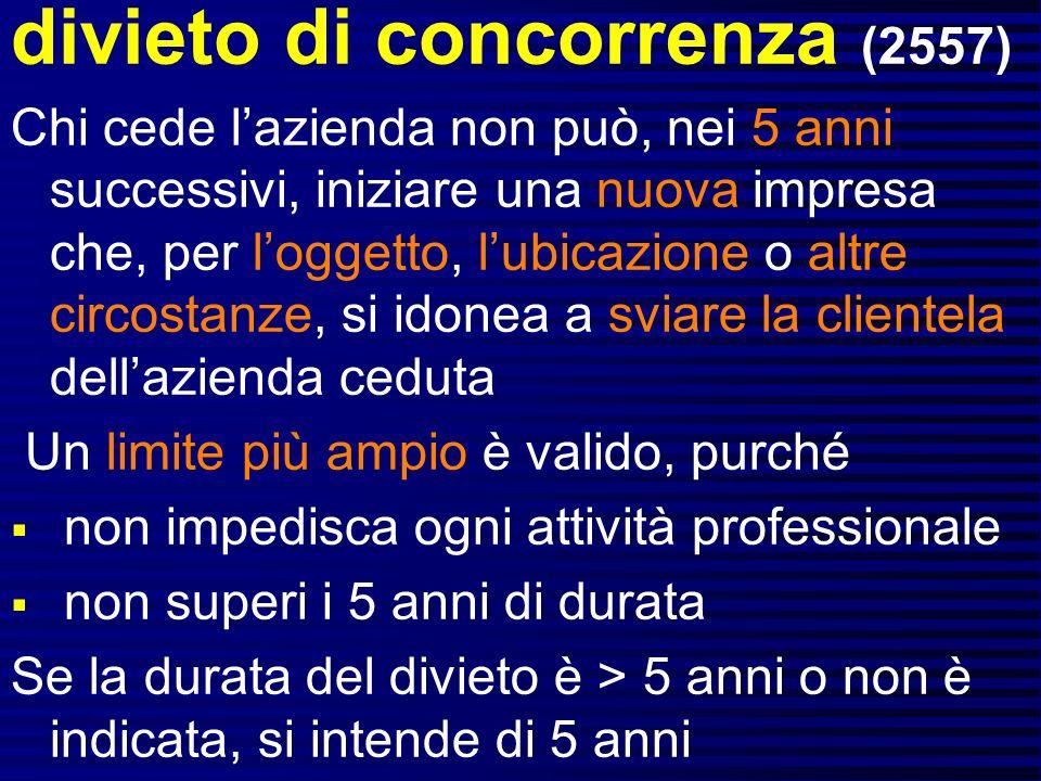 divieto di concorrenza (2557)