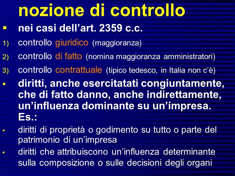 nozione di controllo nei casi dell'art. 2359 c.c.