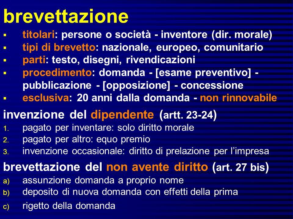 brevettazione invenzione del dipendente (artt. 23-24)