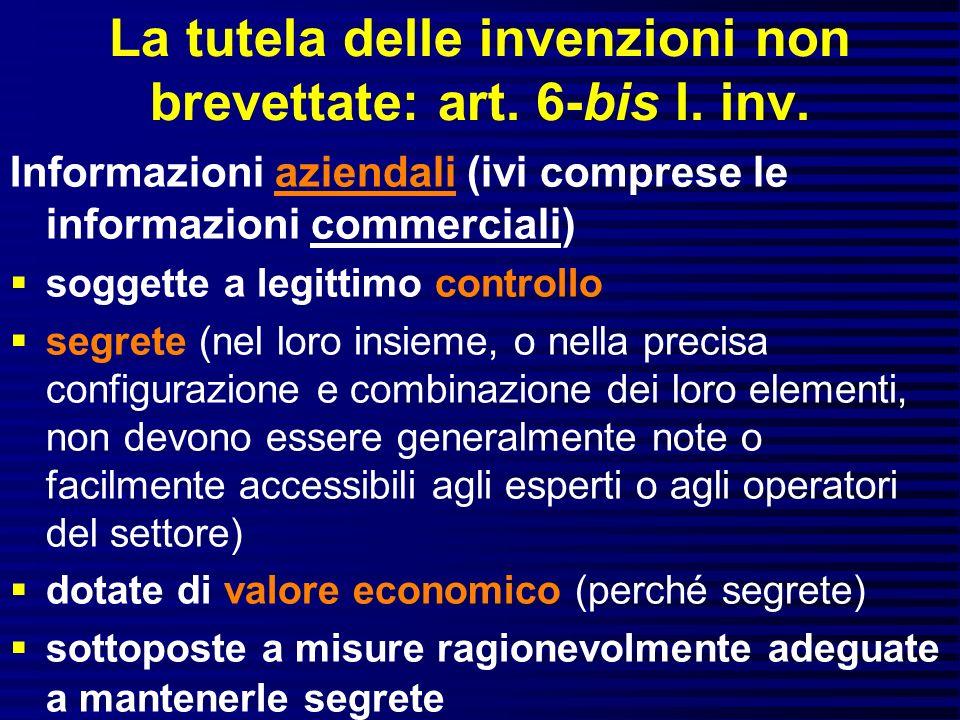 La tutela delle invenzioni non brevettate: art. 6-bis l. inv.