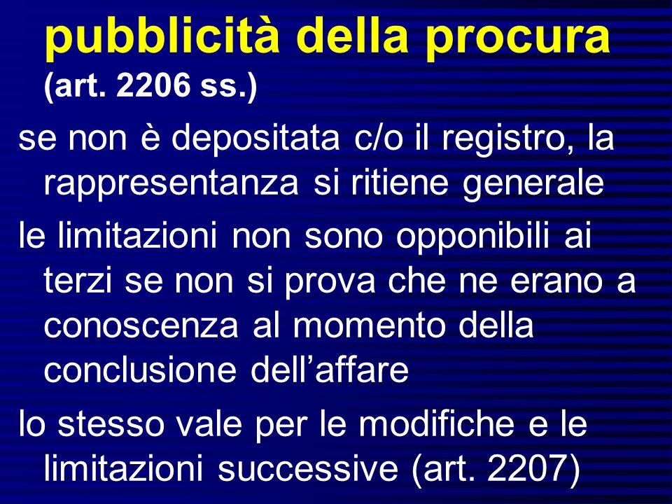 pubblicità della procura (art. 2206 ss.)