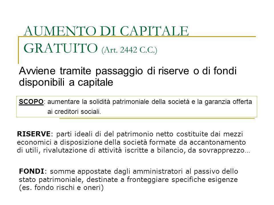 AUMENTO DI CAPITALE GRATUITO (Art. 2442 C.C.)