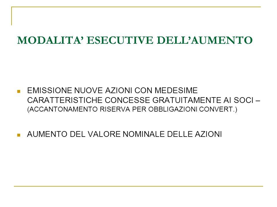 MODALITA' ESECUTIVE DELL'AUMENTO