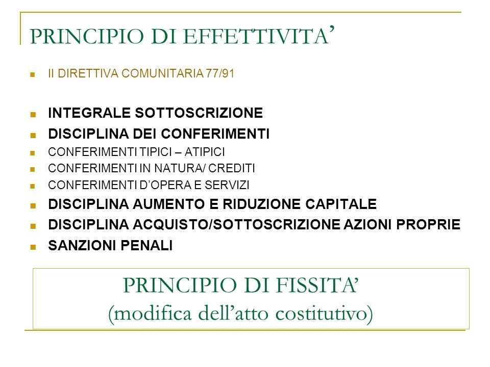 PRINCIPIO DI EFFETTIVITA'