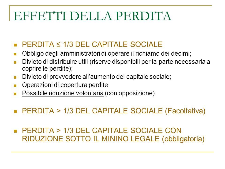 EFFETTI DELLA PERDITA PERDITA ≤ 1/3 DEL CAPITALE SOCIALE
