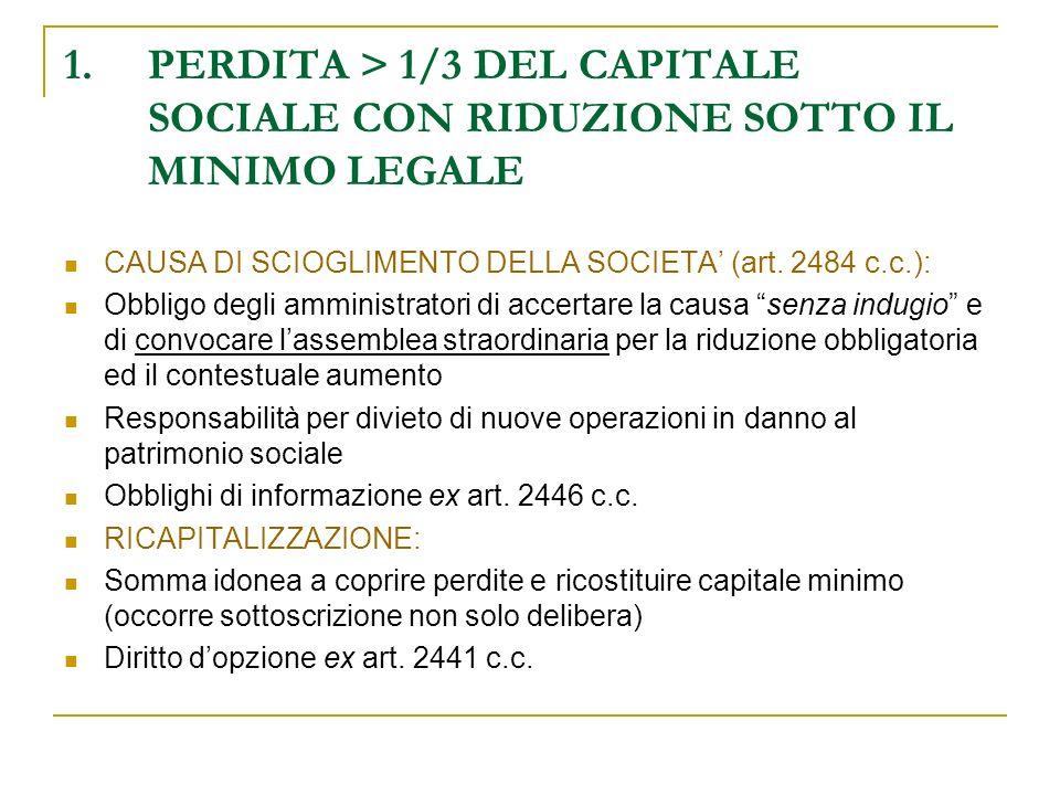 PERDITA > 1/3 DEL CAPITALE SOCIALE CON RIDUZIONE SOTTO IL MINIMO LEGALE