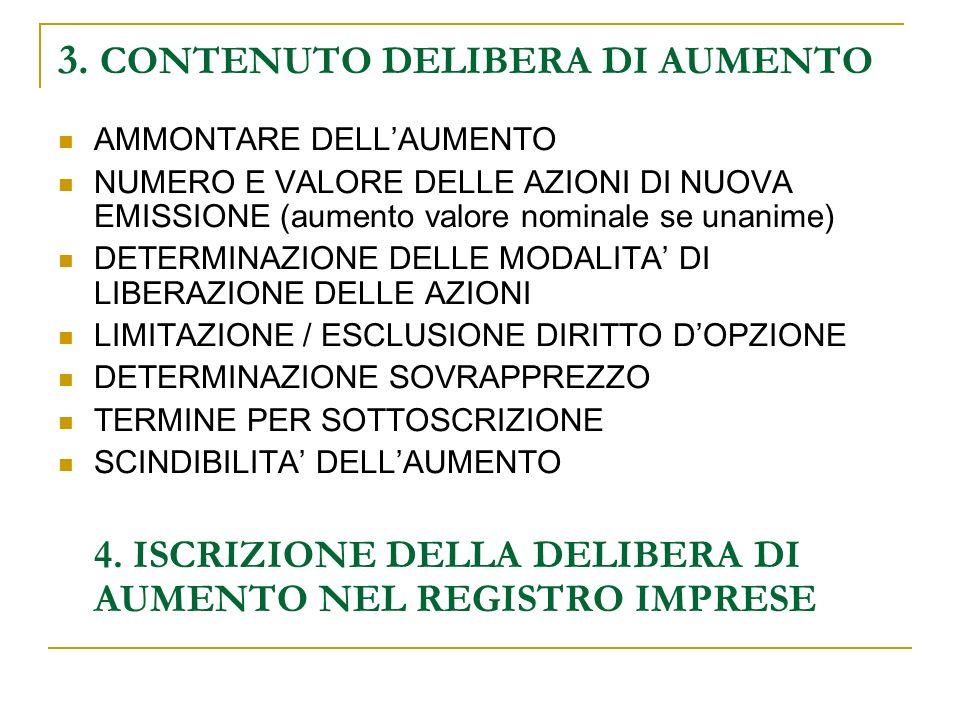 3. CONTENUTO DELIBERA DI AUMENTO