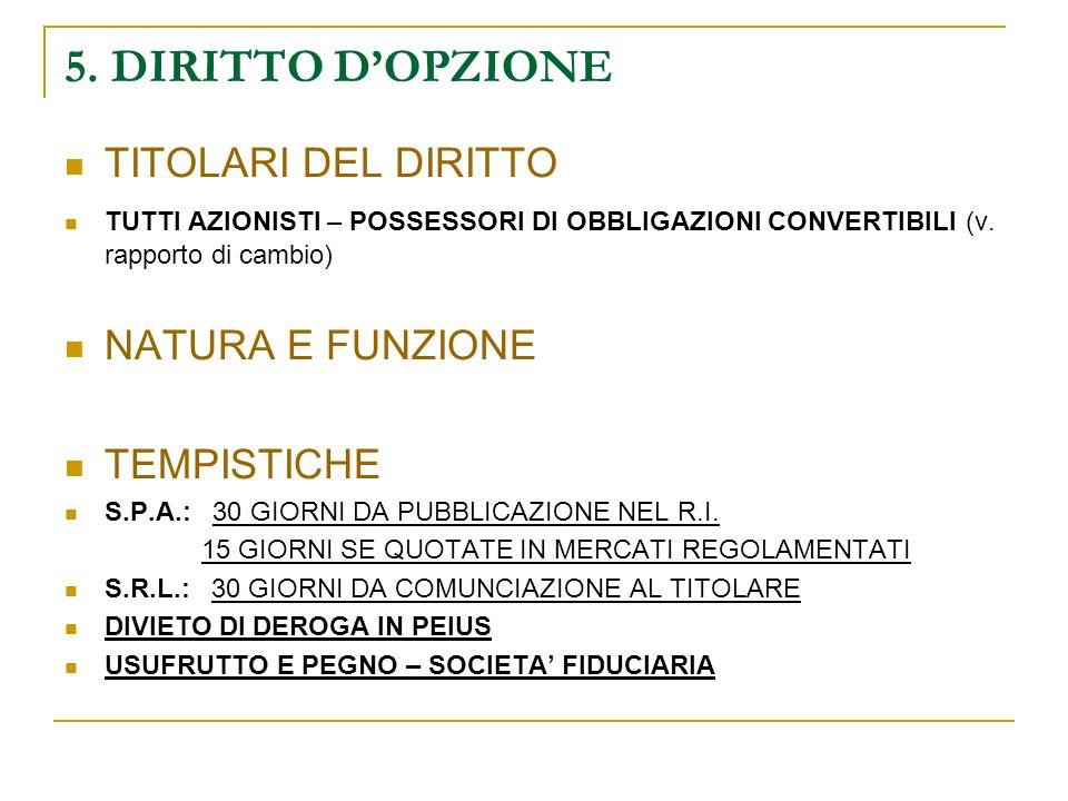 5. DIRITTO D'OPZIONE TITOLARI DEL DIRITTO NATURA E FUNZIONE