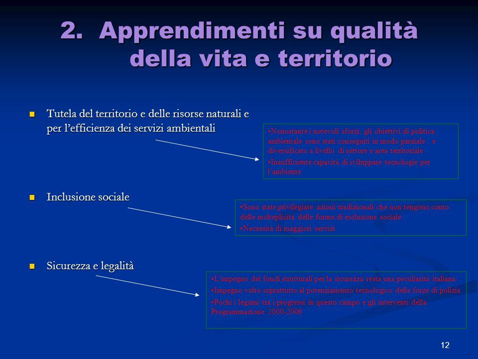 2. Apprendimenti su qualità della vita e territorio