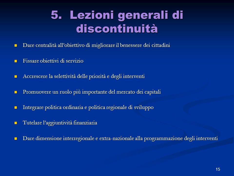 5. Lezioni generali di discontinuità