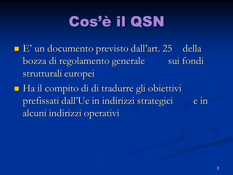 Cos'è il QSN E' un documento previsto dall'art. 25 della bozza di regolamento generale sui fondi strutturali europei.