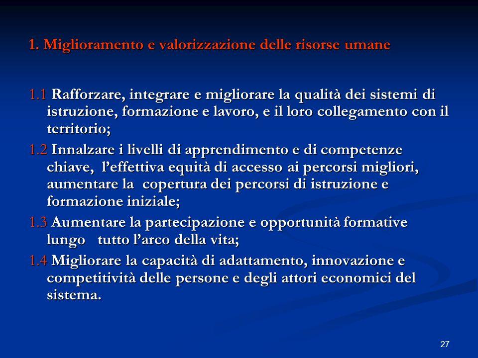 1. Miglioramento e valorizzazione delle risorse umane