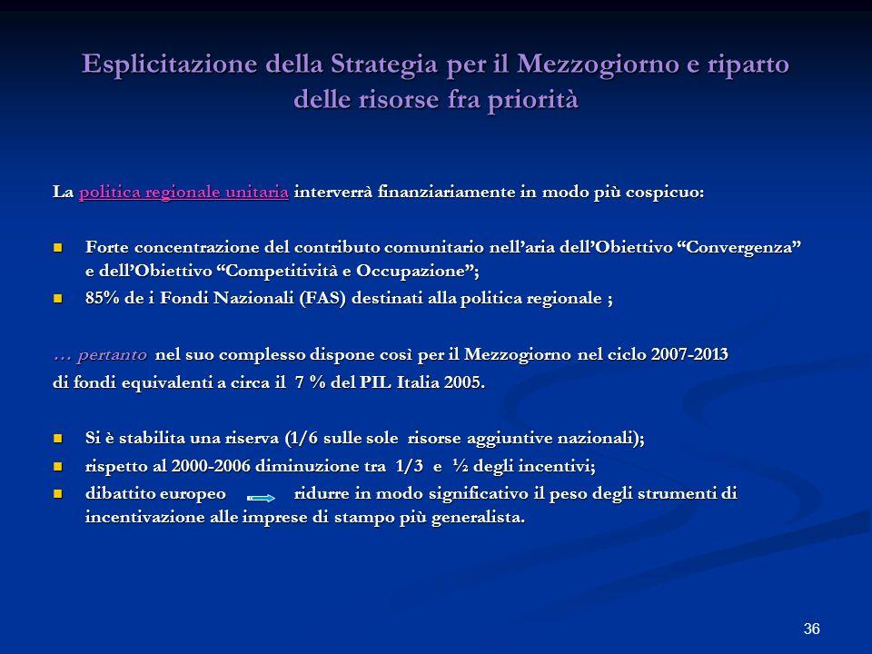 Esplicitazione della Strategia per il Mezzogiorno e riparto delle risorse fra priorità