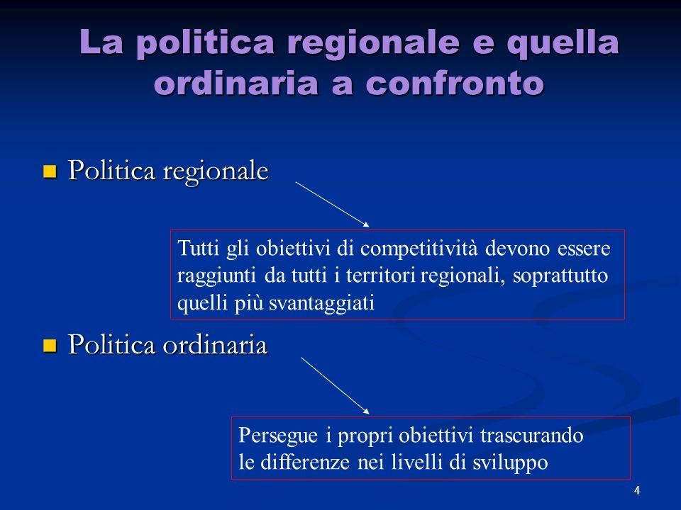 La politica regionale e quella ordinaria a confronto