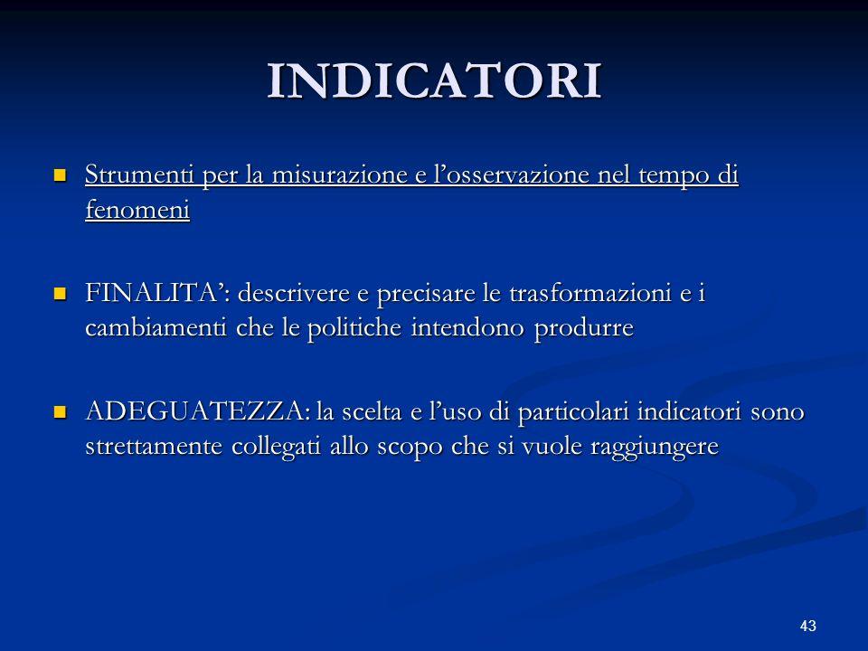 INDICATORI Strumenti per la misurazione e l'osservazione nel tempo di fenomeni.