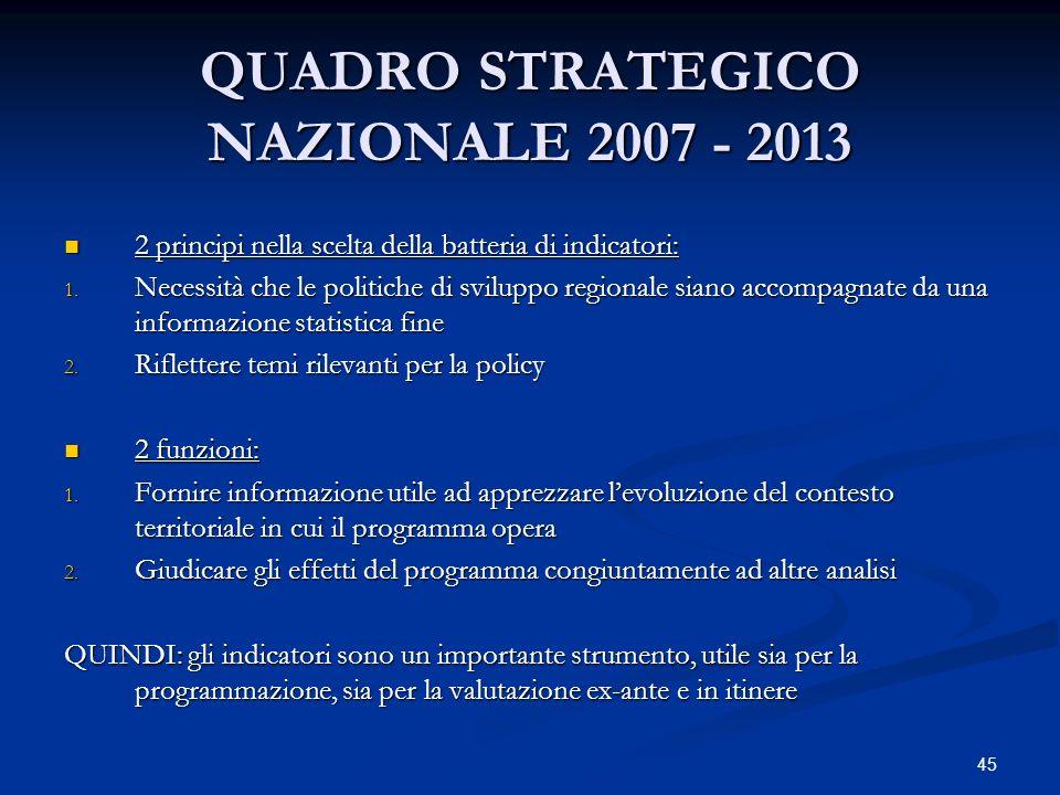 QUADRO STRATEGICO NAZIONALE 2007 - 2013