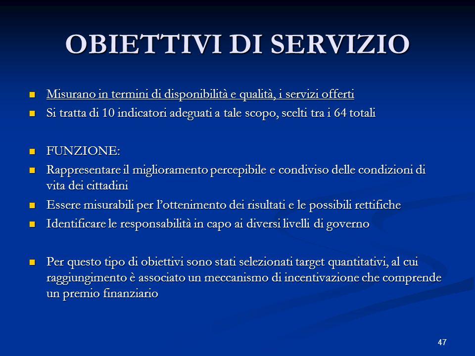 OBIETTIVI DI SERVIZIO Misurano in termini di disponibilità e qualità, i servizi offerti.
