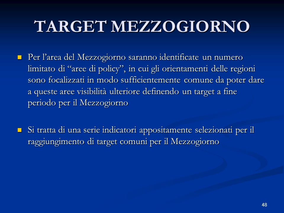 TARGET MEZZOGIORNO