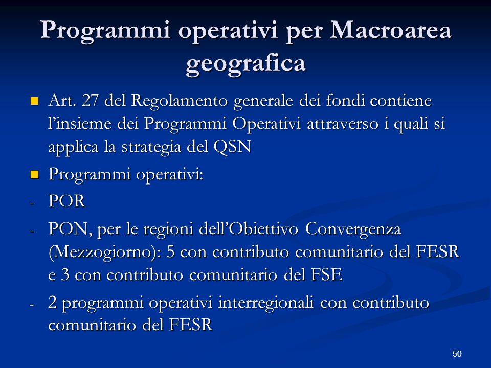 Programmi operativi per Macroarea geografica