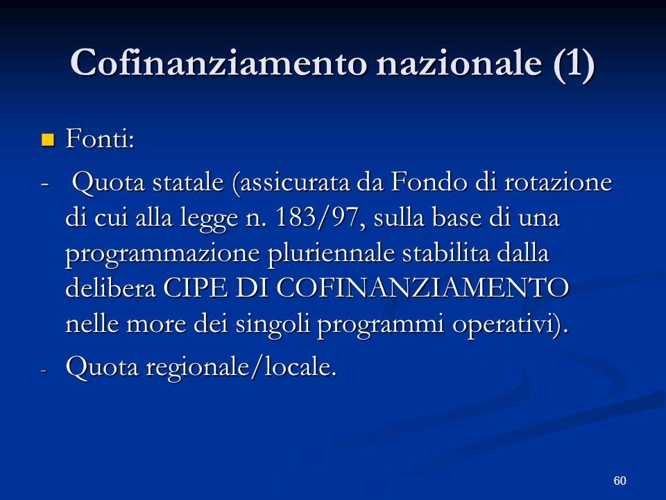 Cofinanziamento nazionale (1)