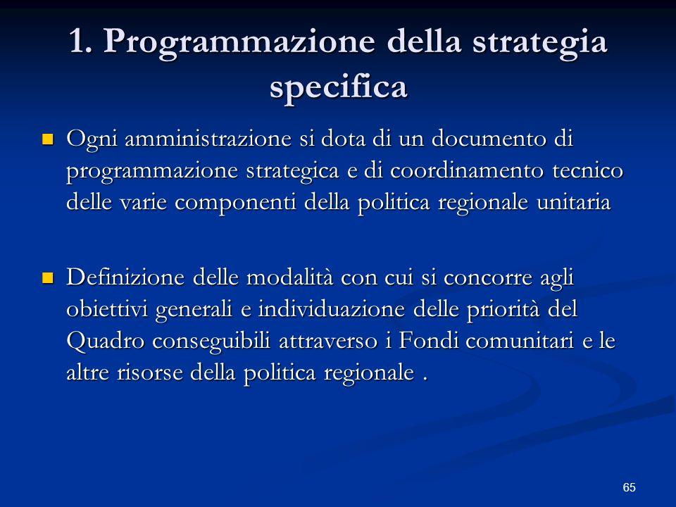 1. Programmazione della strategia specifica