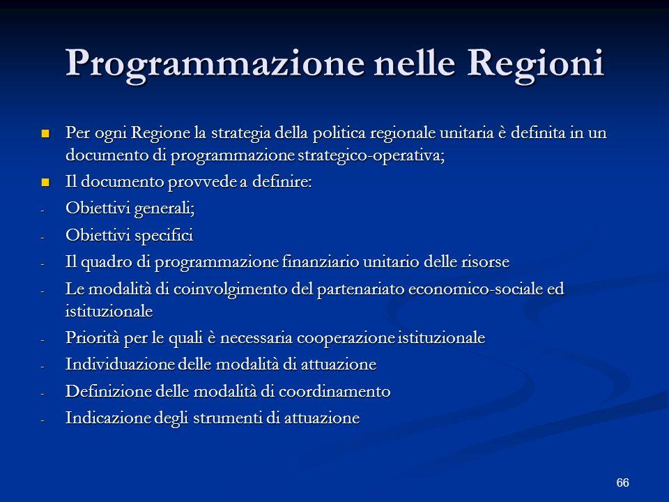 Programmazione nelle Regioni