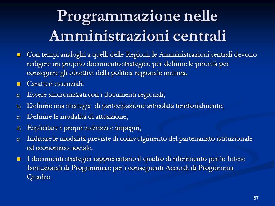 Programmazione nelle Amministrazioni centrali
