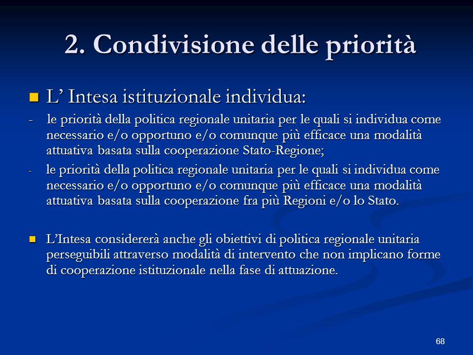 2. Condivisione delle priorità