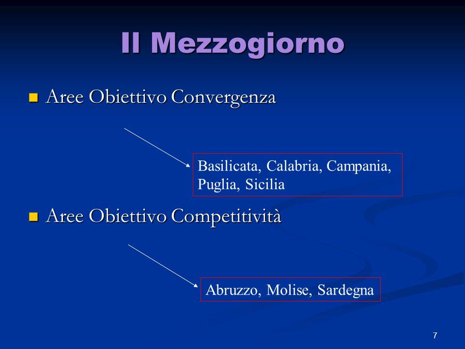 Il Mezzogiorno Aree Obiettivo Convergenza Aree Obiettivo Competitività