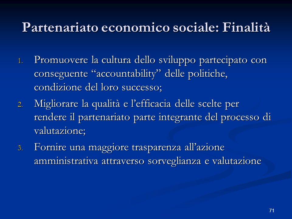 Partenariato economico sociale: Finalità