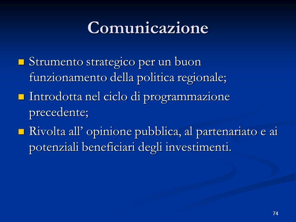 Comunicazione Strumento strategico per un buon funzionamento della politica regionale; Introdotta nel ciclo di programmazione precedente;