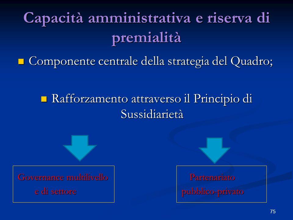 Capacità amministrativa e riserva di premialità