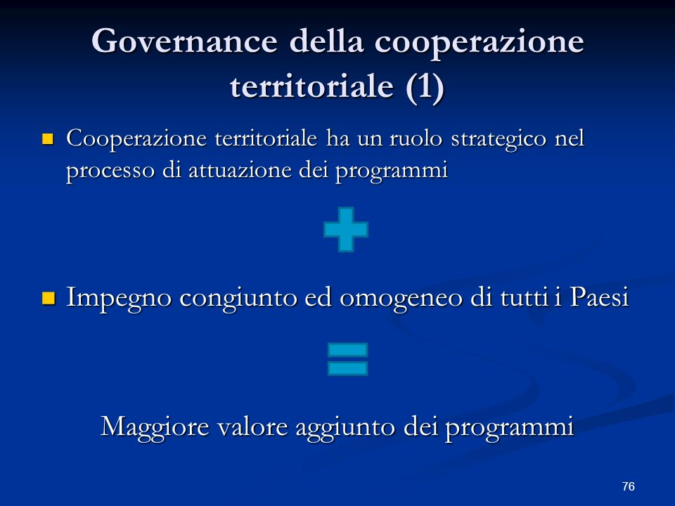 Governance della cooperazione territoriale (1)