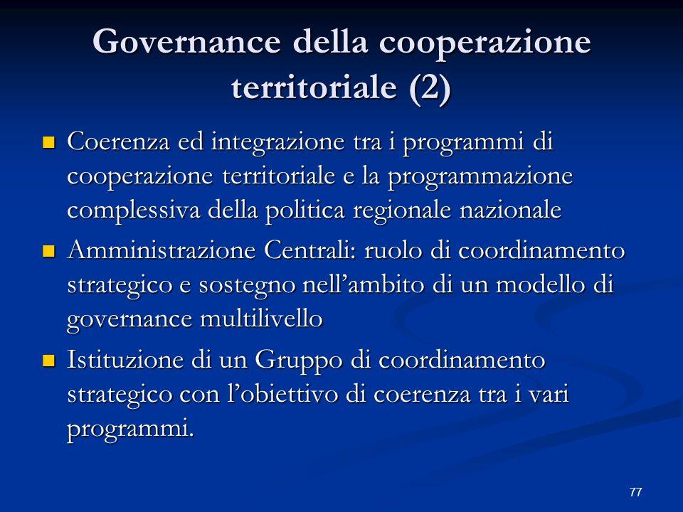 Governance della cooperazione territoriale (2)