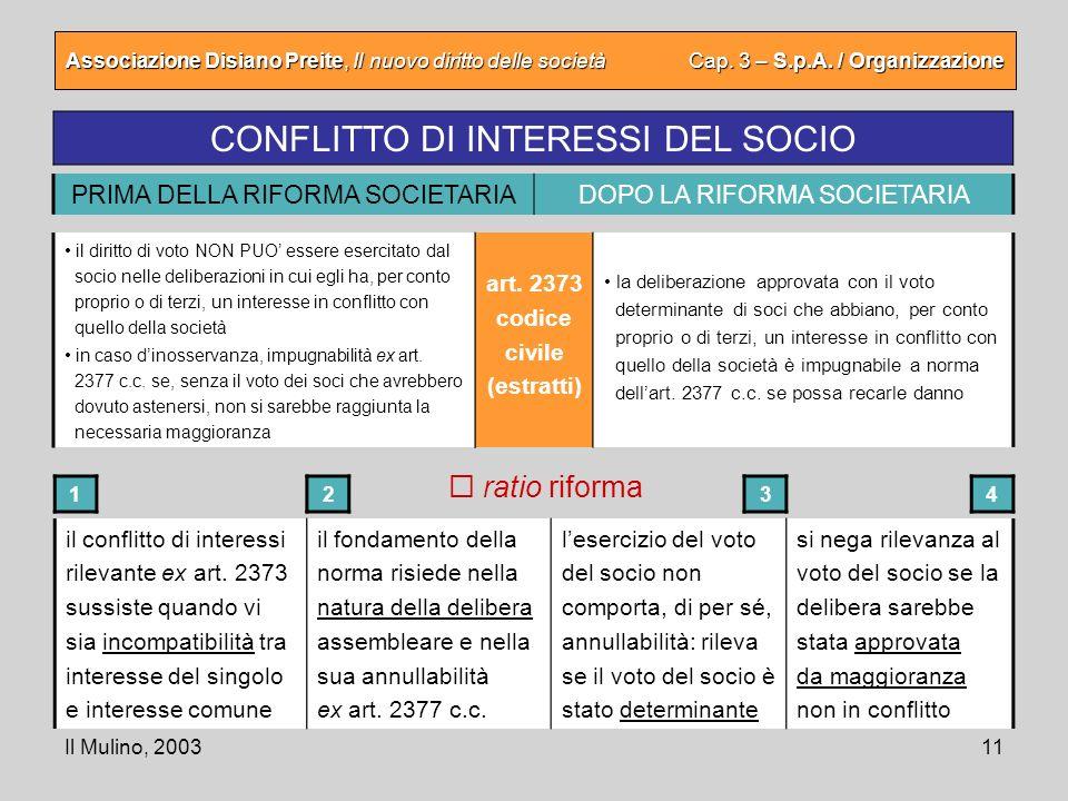 CONFLITTO DI INTERESSI DEL SOCIO