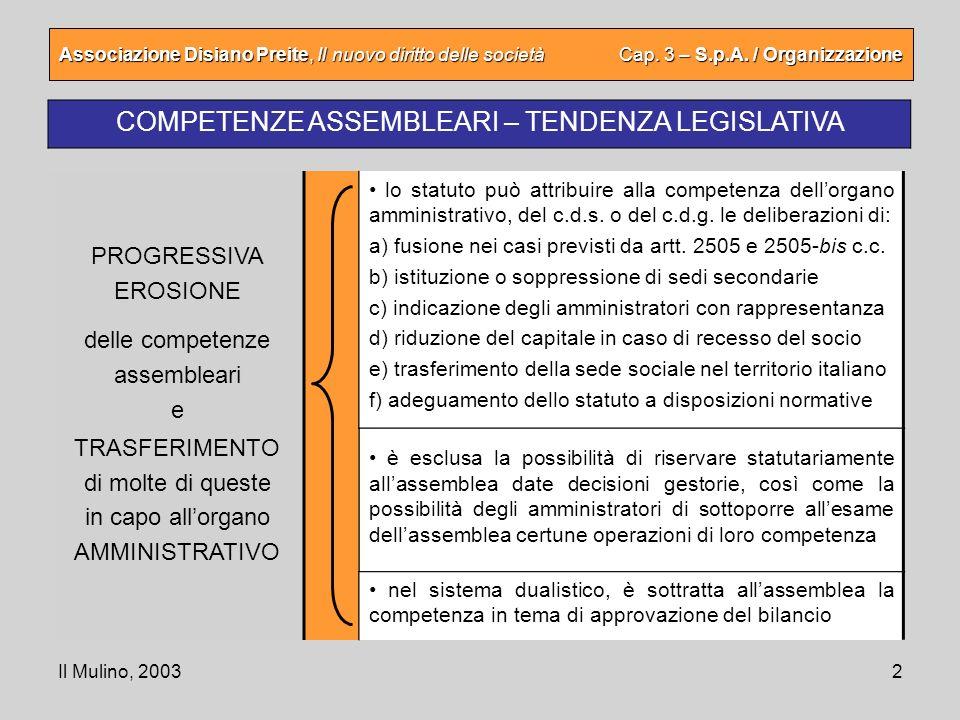 COMPETENZE ASSEMBLEARI – TENDENZA LEGISLATIVA