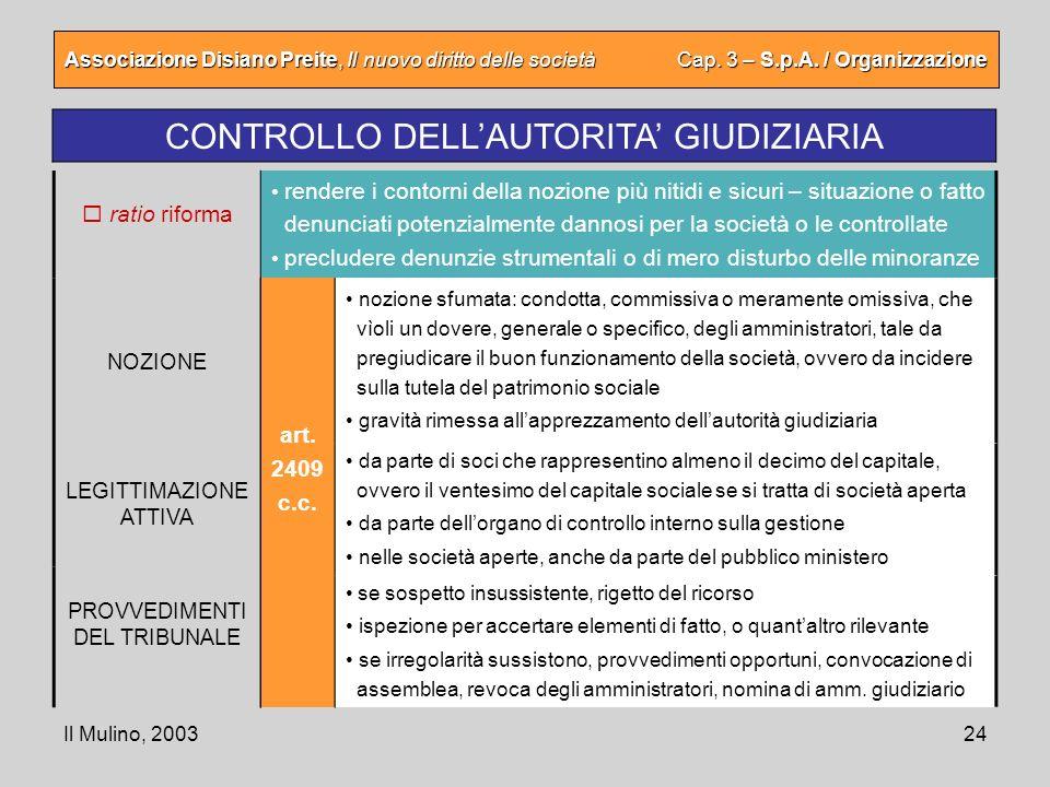CONTROLLO DELL'AUTORITA' GIUDIZIARIA