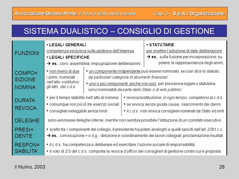 SISTEMA DUALISTICO – CONSIGLIO DI GESTIONE