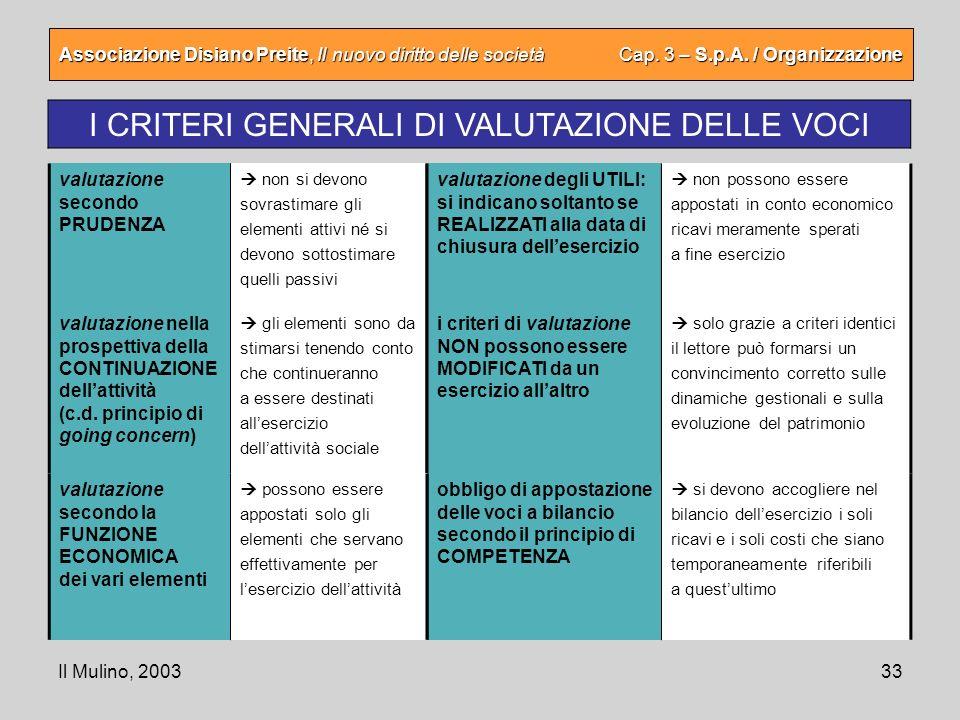 I CRITERI GENERALI DI VALUTAZIONE DELLE VOCI