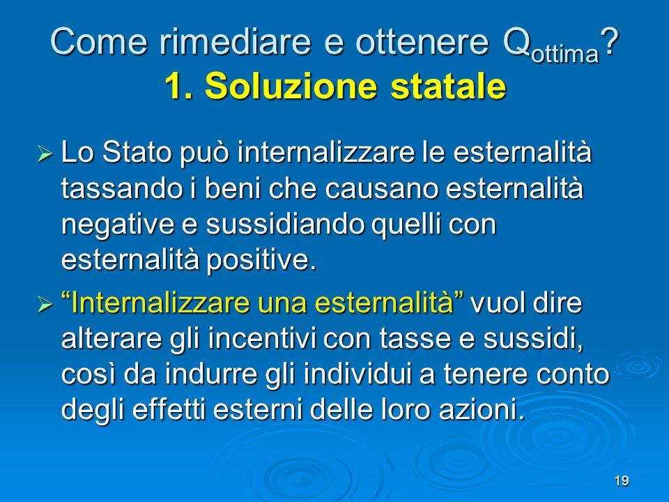 Come rimediare e ottenere Qottima 1. Soluzione statale